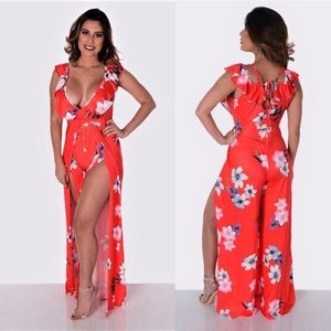Fit Miami Style Pants - Red Floral Jumpsuit
